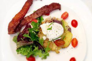 eggs, potatoes and bacon