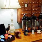 Coffee bar at 7 each morning. Served in the living room. Tea is also available